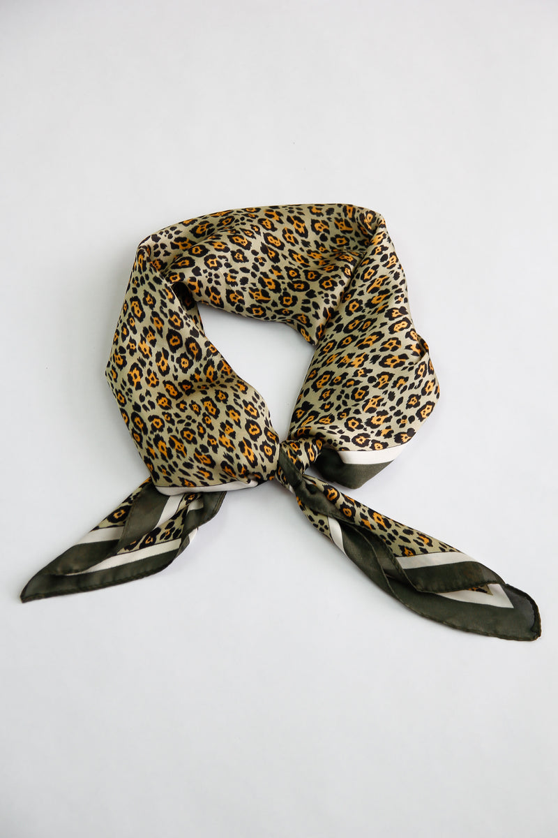 Silky Leopard Scarf - Olive