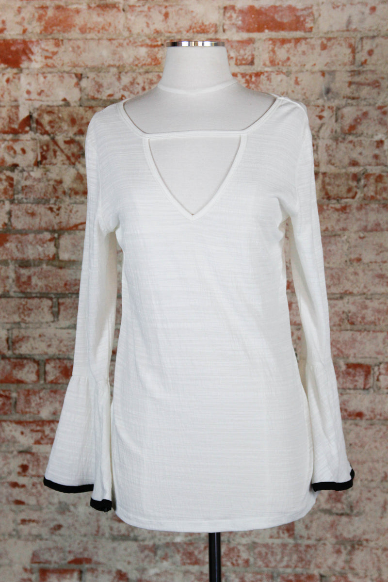 White & Black trim Sleeve Blouse