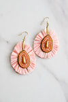 Just Peachy Straw Earrings