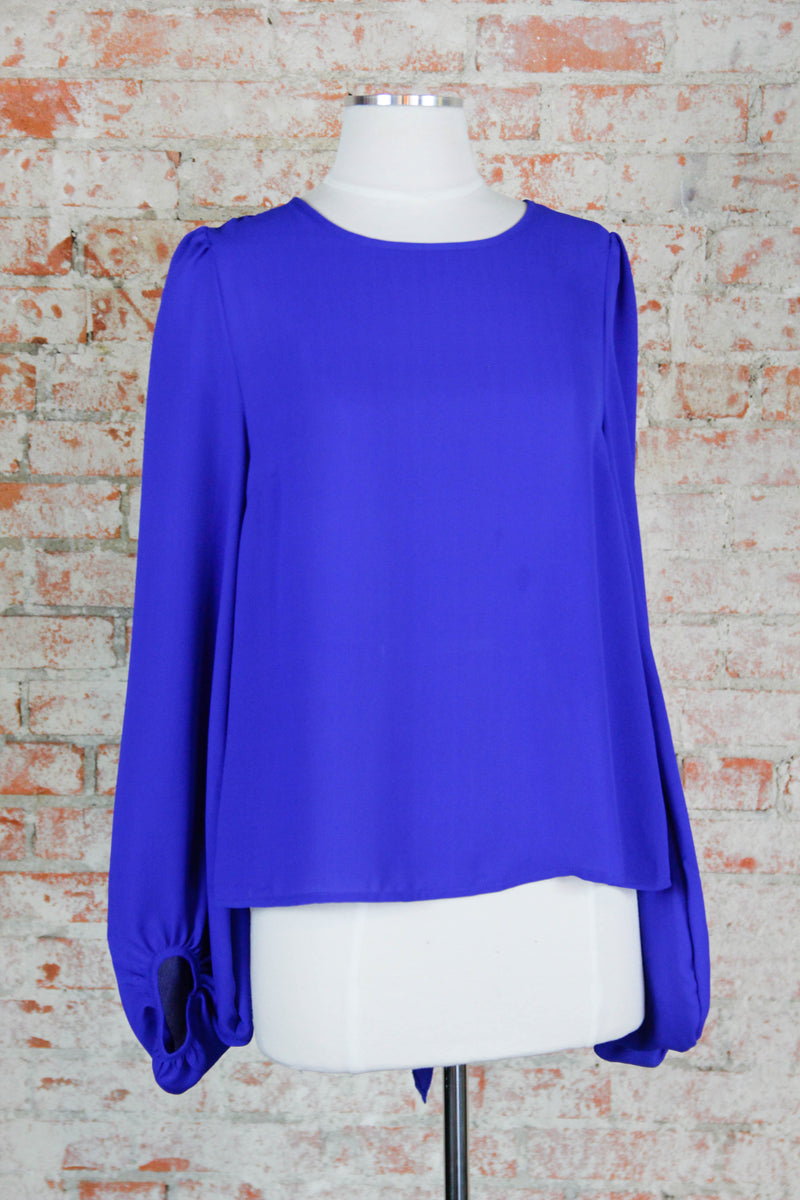 Blue Open Back Blouse