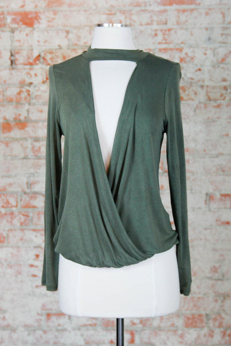 Olive Soft Draped Across Blouse