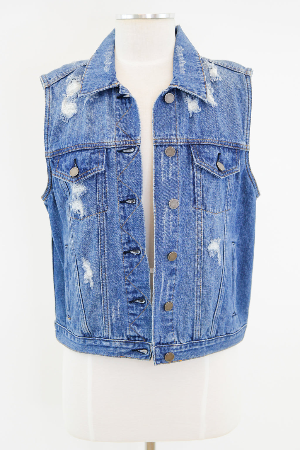 Distressed Denim Vest - Medium Wash