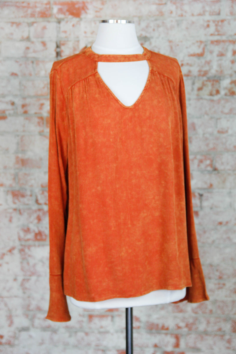Orange Acid Wash Blouse