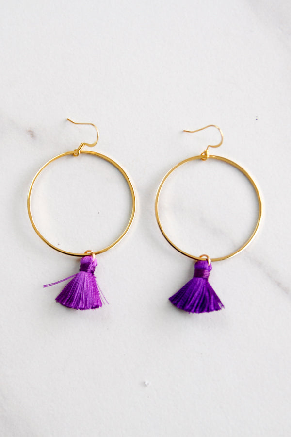 Kelly Tassel Earrings - Purple
