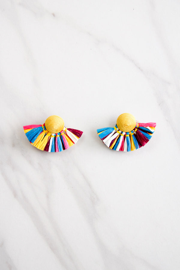 Tessa Straw Earrings - Multi