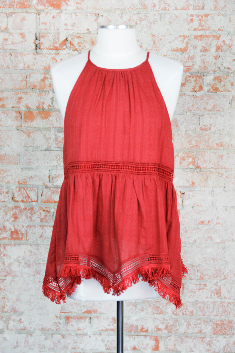 Ready In Red Halter Top