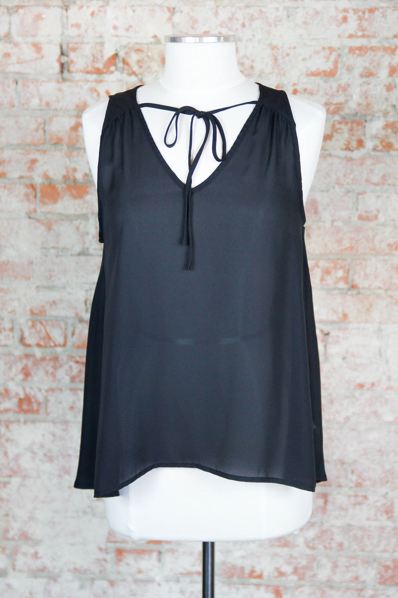Black Breezy Bow Front Top