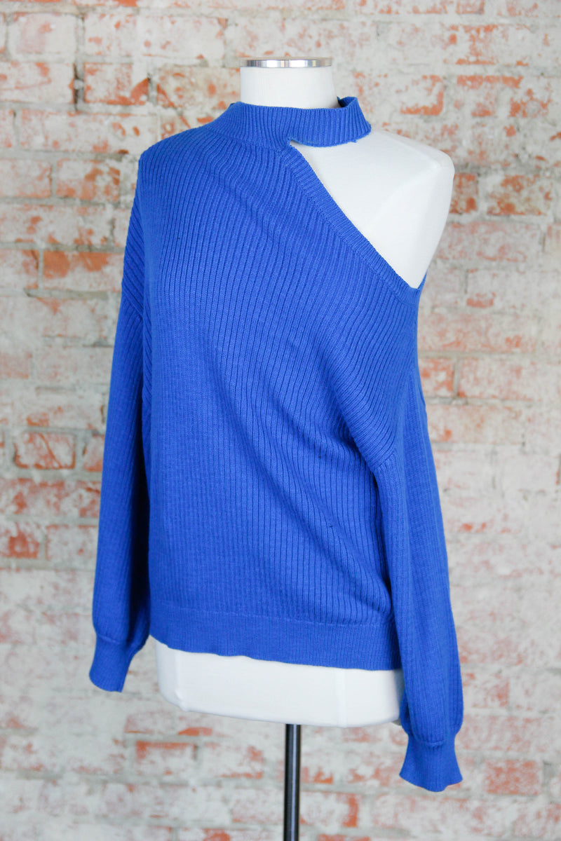 Show Me Shoulder Sweater - Blue