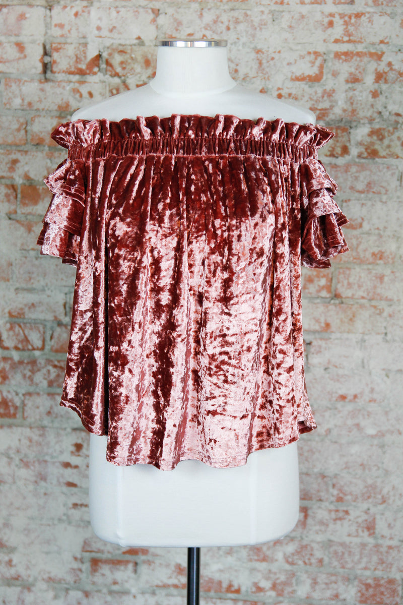 Rose Velvet Off The Shoulder Top