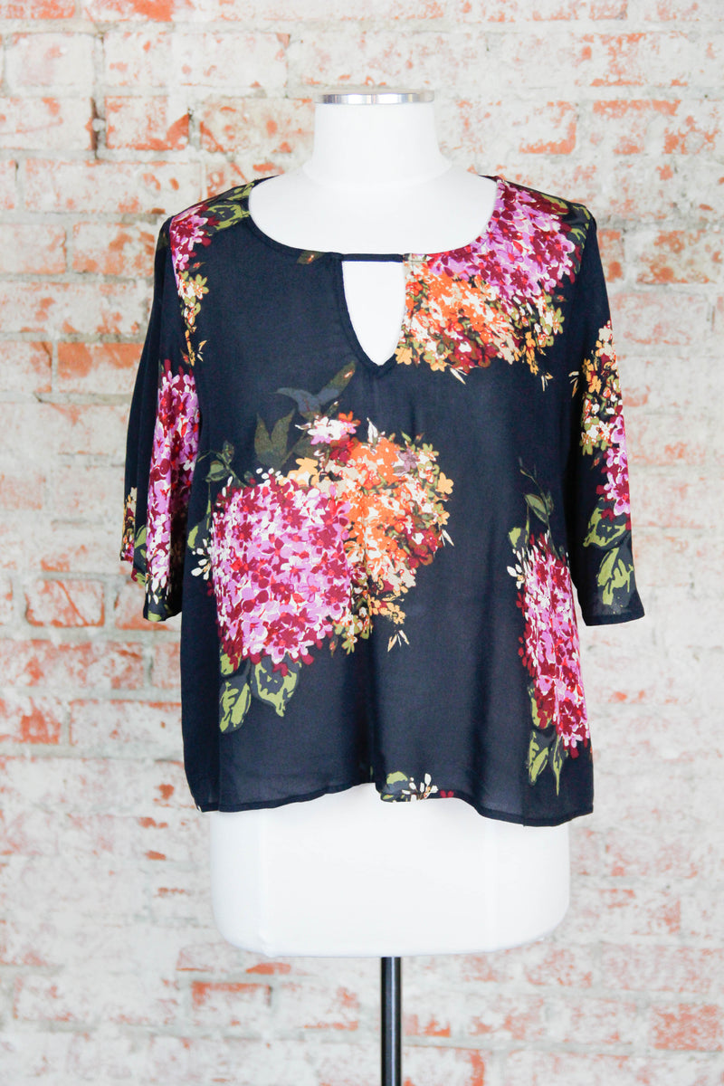 Black Floral Cut Out Blouse
