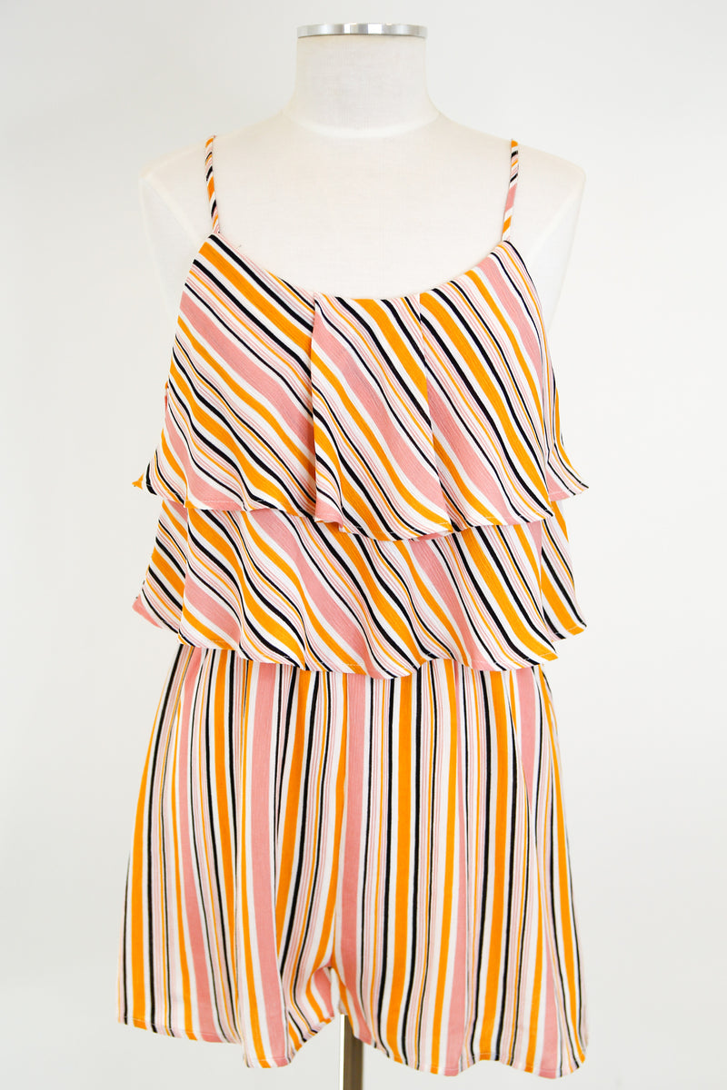 Happy Stripes Romper - Pink Multi