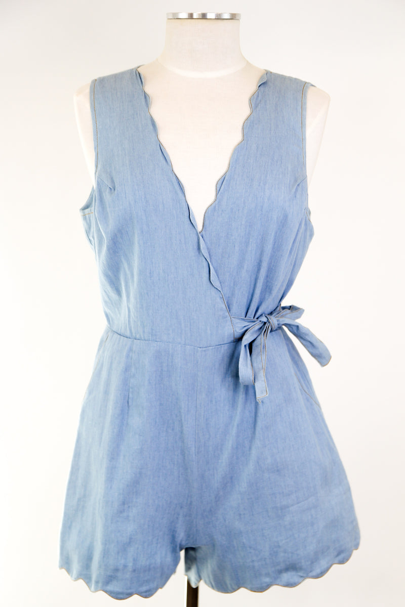 Scalloped Edges Romper - Denim