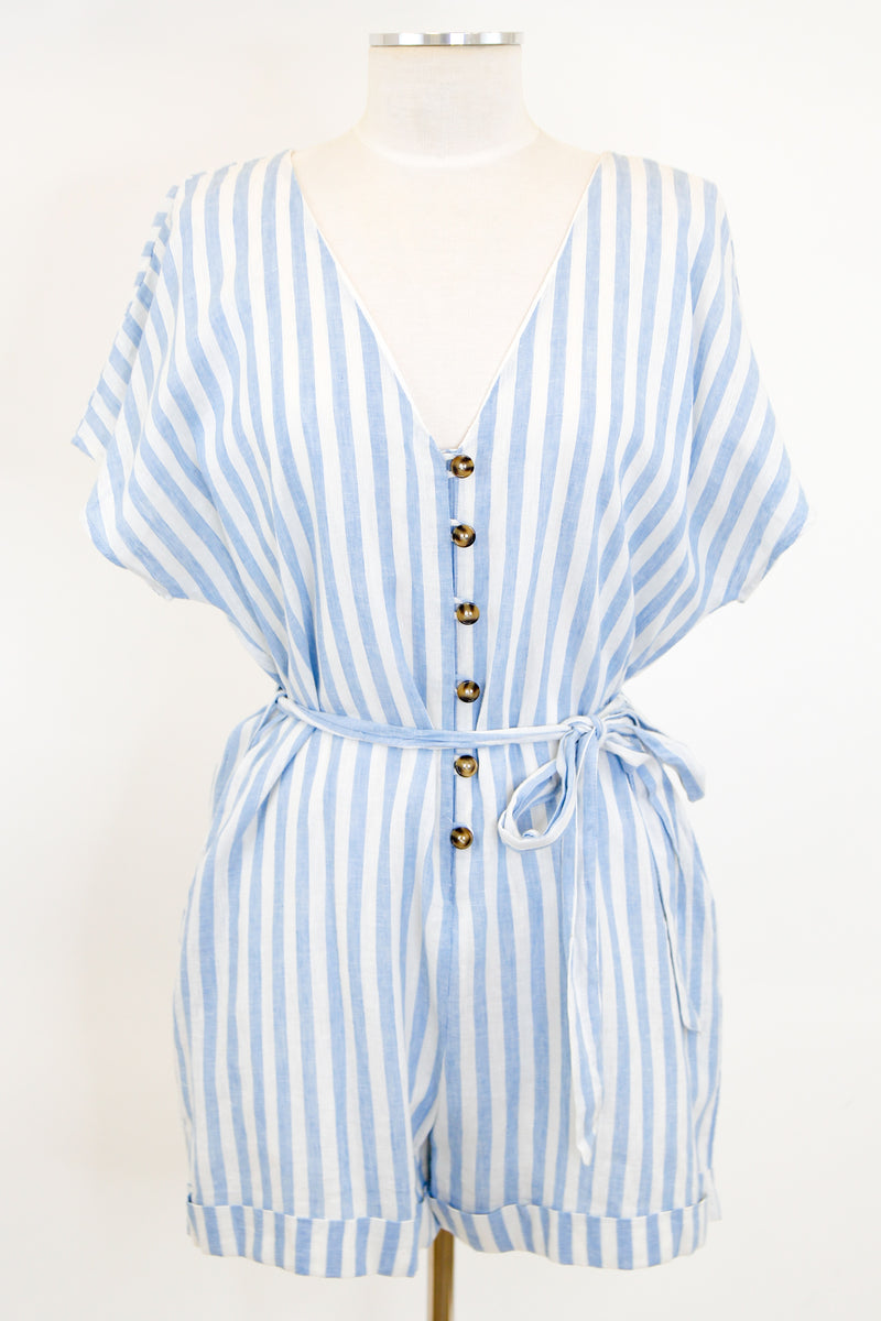 By The Beach Romper - Light Blue