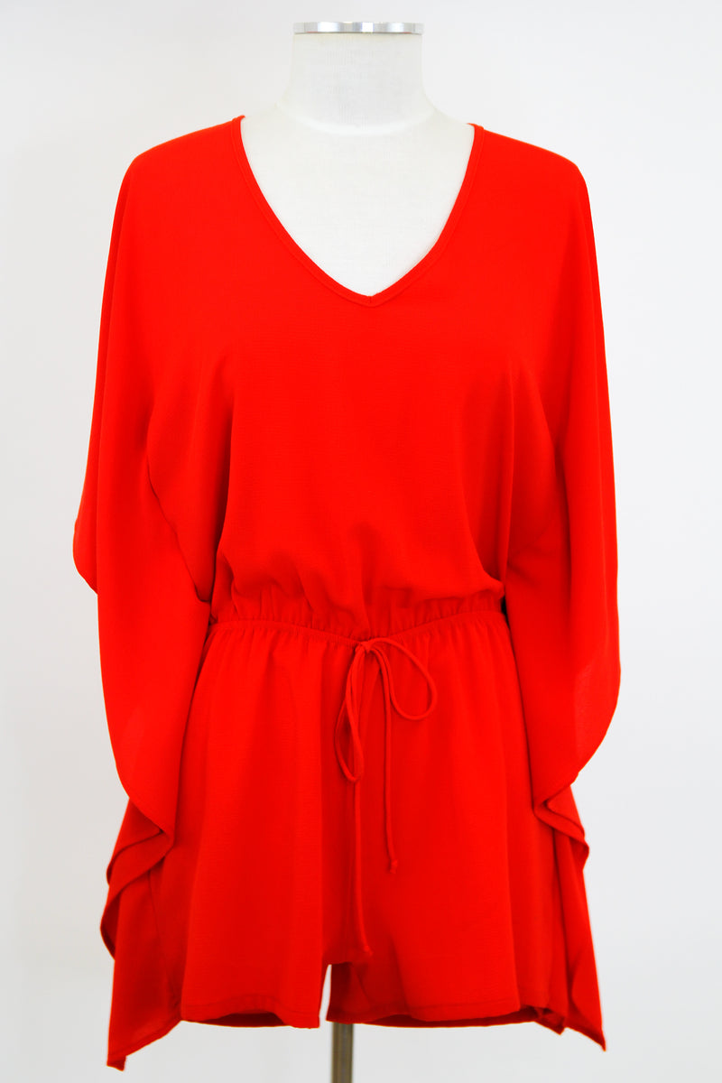 Pool Poncho Romper - Red
