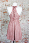 Dusty Rose Laced Back Dress
