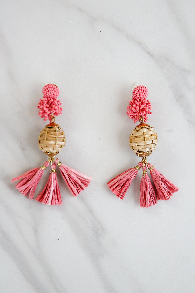 Palm Beach Statement Earrings - Pink