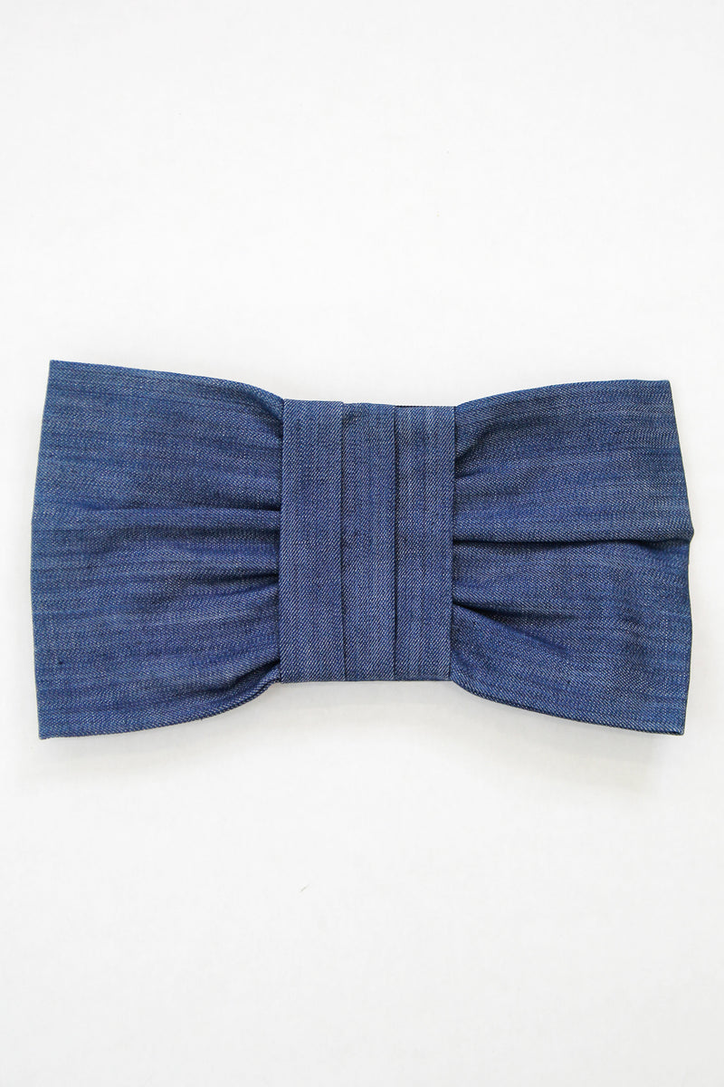Denim Bow Clutch - Blue
