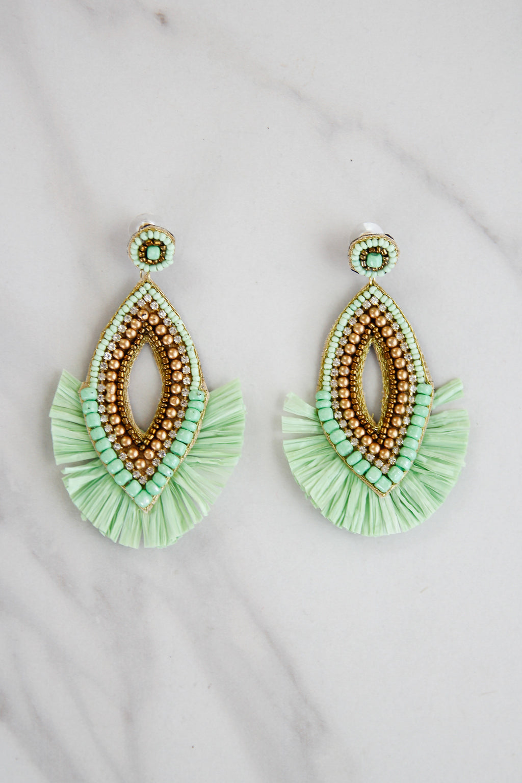 Fancy In Fringe Earrings - Light Green