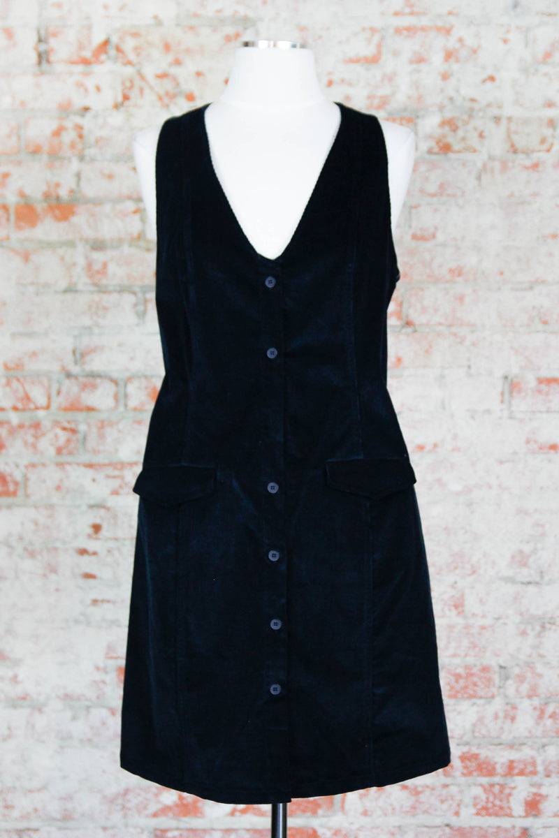 Black Button Up Corduroy Dress