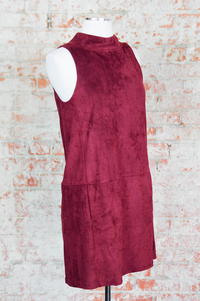 Red High Neck Suede Dress