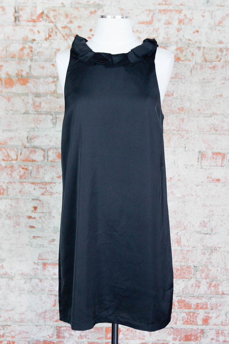 Black Ruffle Neck Dress