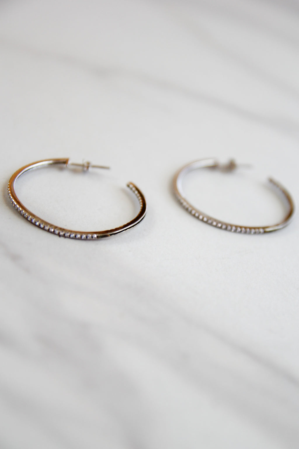 Hint Of Sparkle Hoops - Silver
