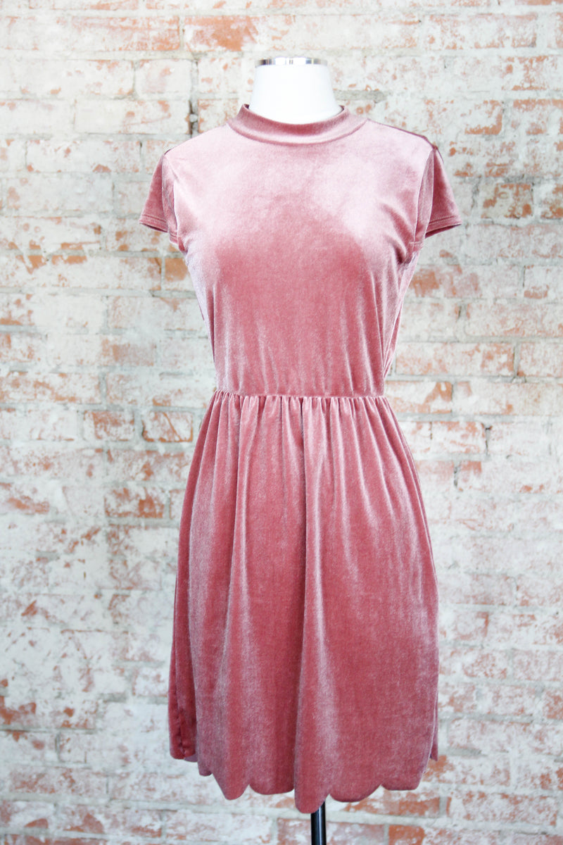 Rosey Scalloped Back Velvet Dress