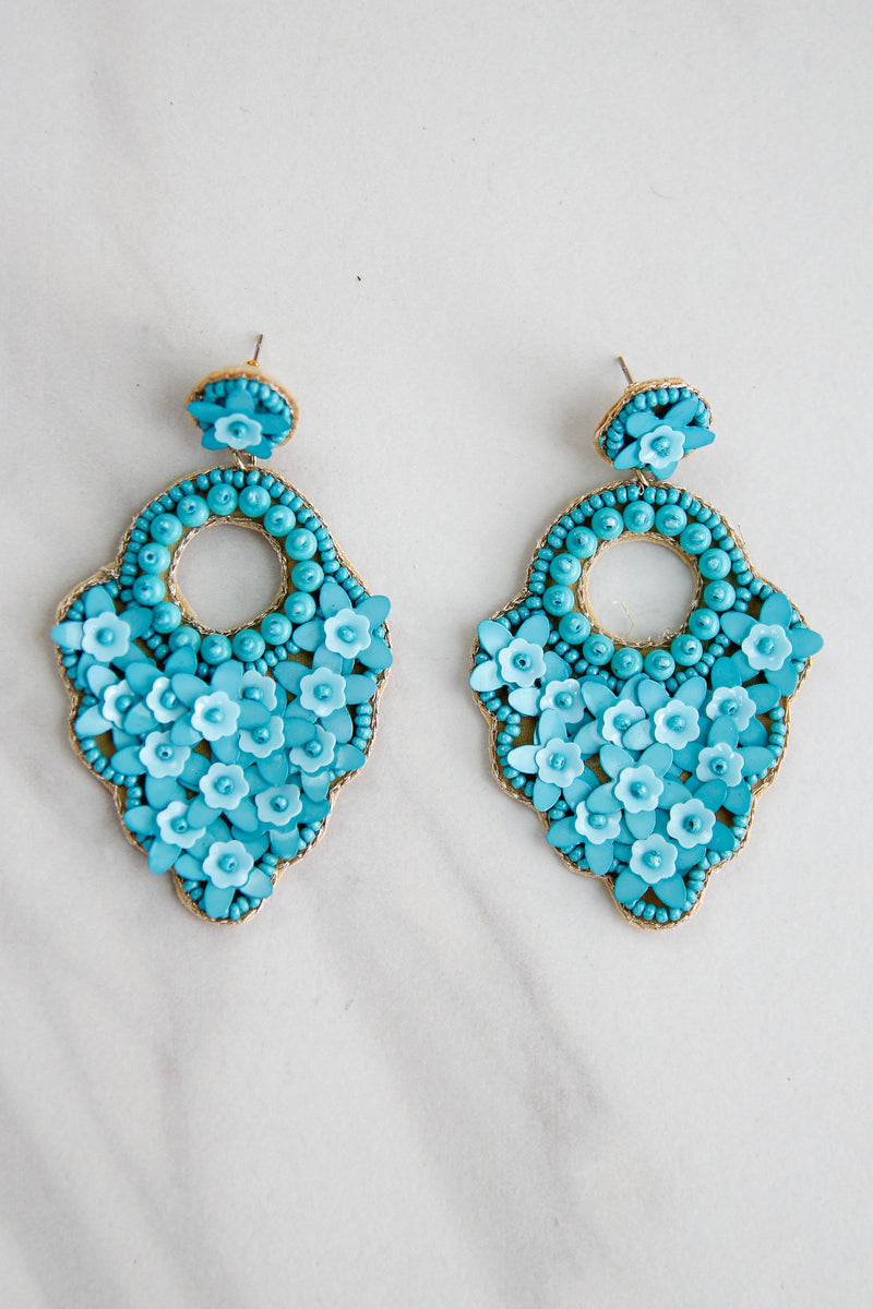 Peacock Party Earrings - Turquoise