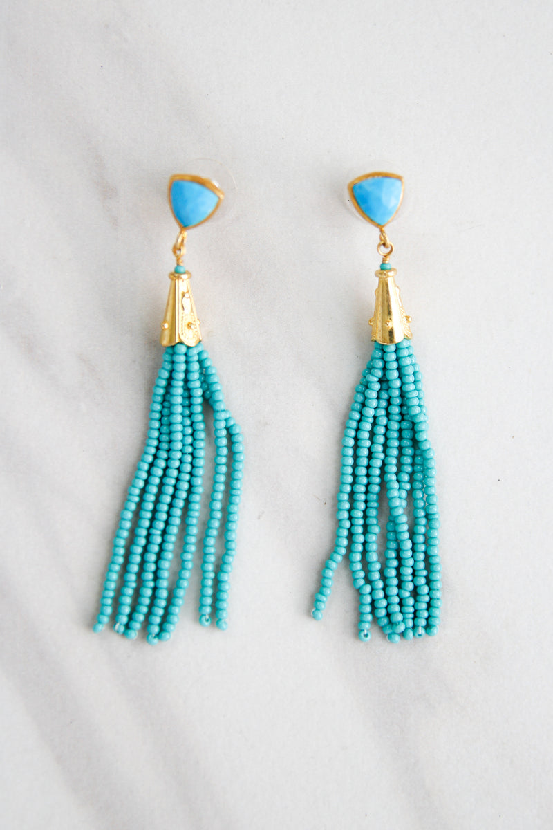 Turquoise Party Tassel Earrings