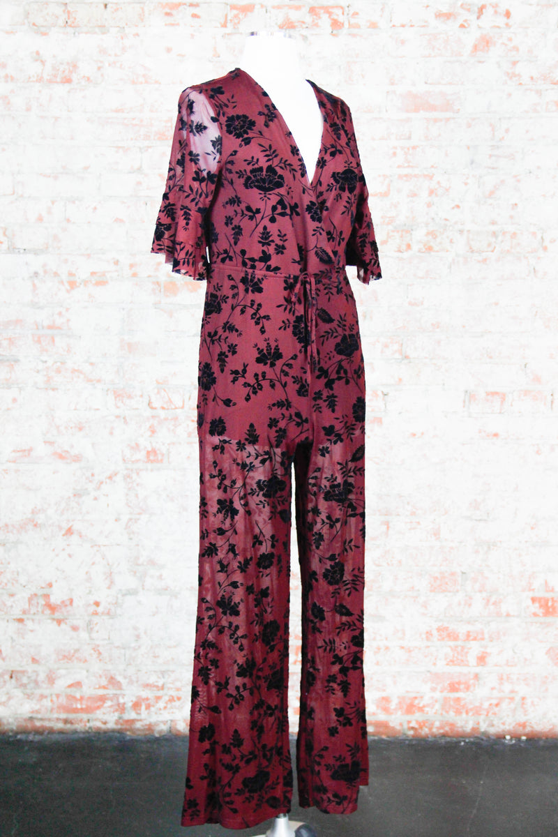 Subtle Floral Jumpsuit - Wine
