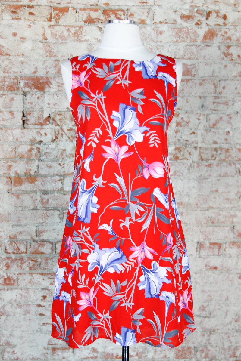 Bright Red Floral Shift Dress