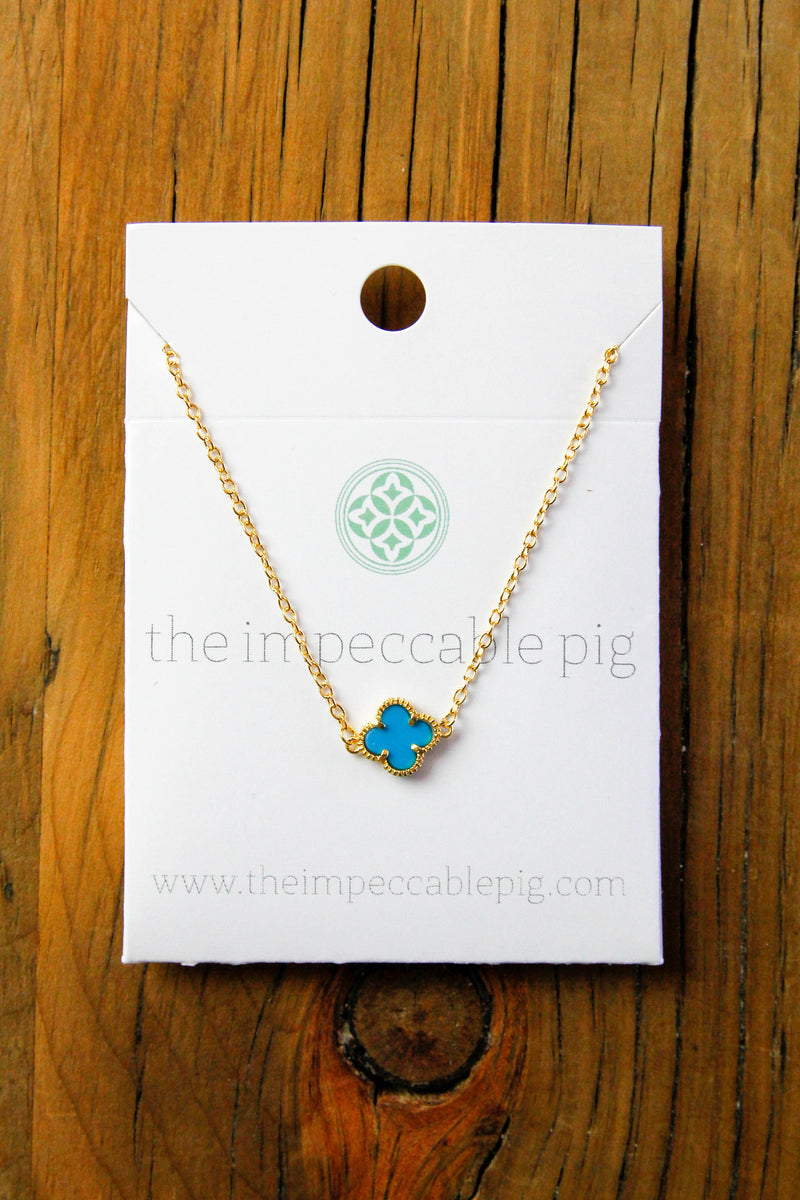 single clover necklace - teal