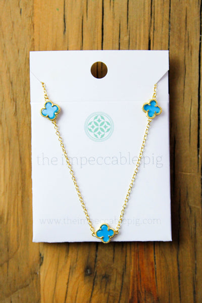 Multi Clover necklace - Teal