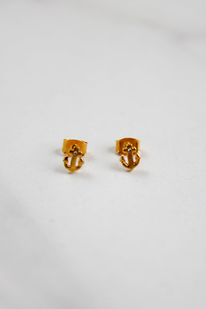 Micro Anchor Studs - Gold