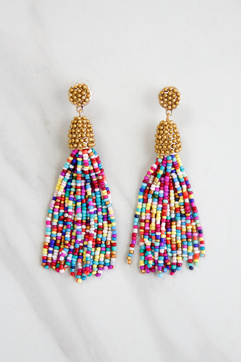 Tassel Parade Beaded Earrings - Rainbow