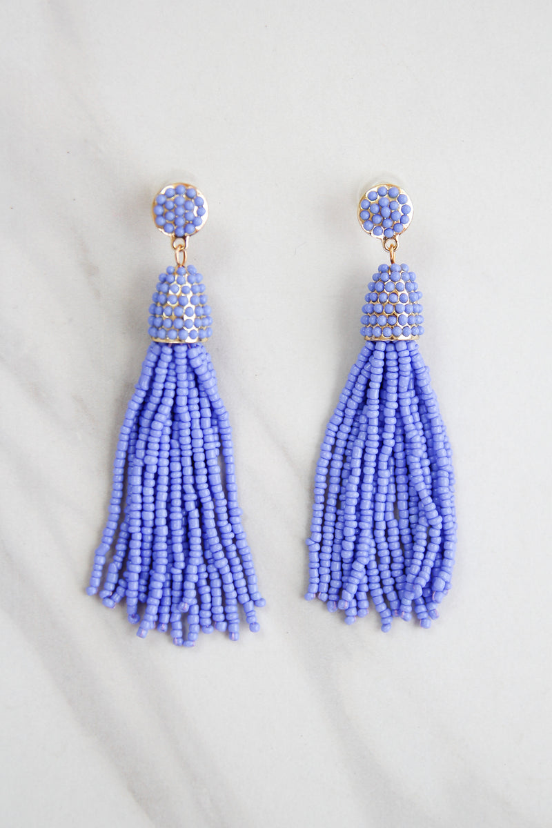 Tassel Parade Beaded Earrings - Periwinkle