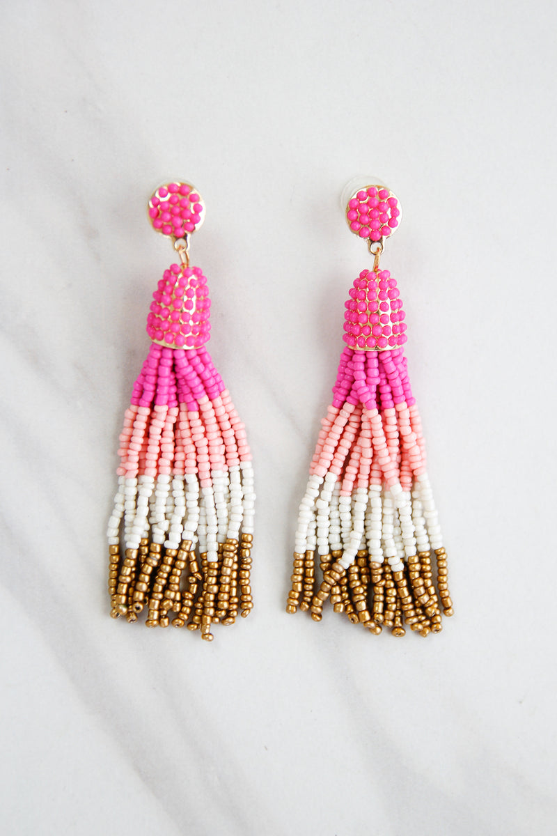 Tassel Parade Beaded Earrings - Pink Ombre