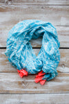 Bright Aqua Tasseled Scarf