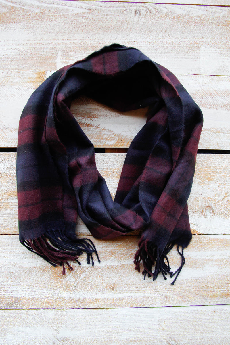 Warm In Wine Plaid Scarf