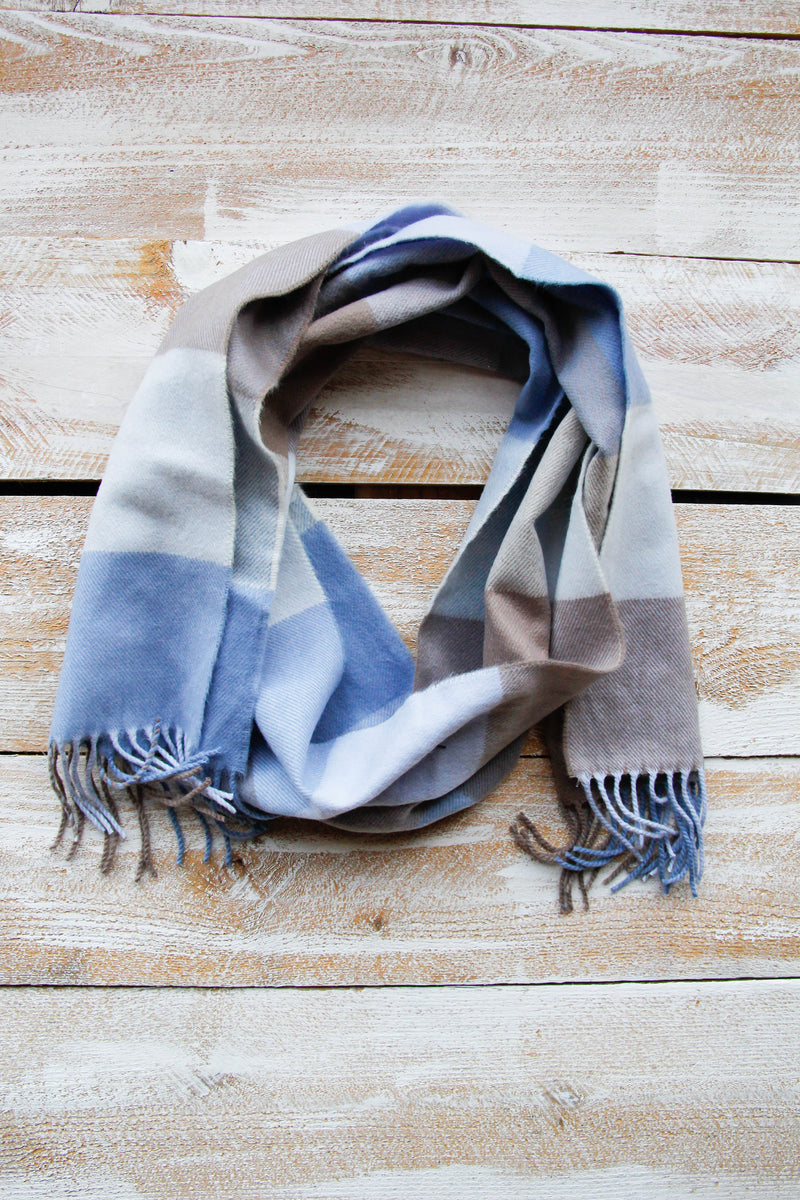 Go For Blue Hues Plaid Scarf