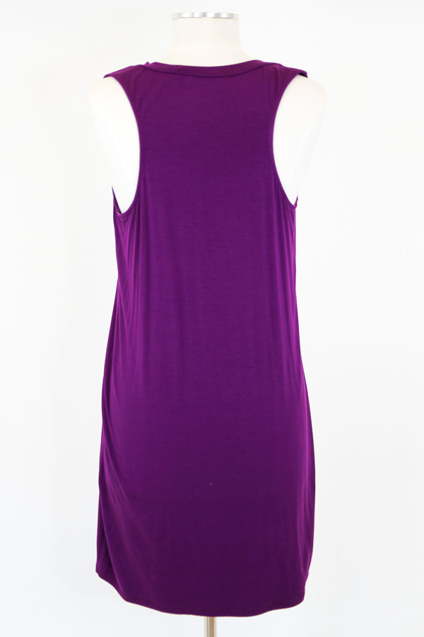 Comfy Pocket Tank Dress - Plum