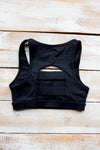 Black Racing Stripe Sports Bra