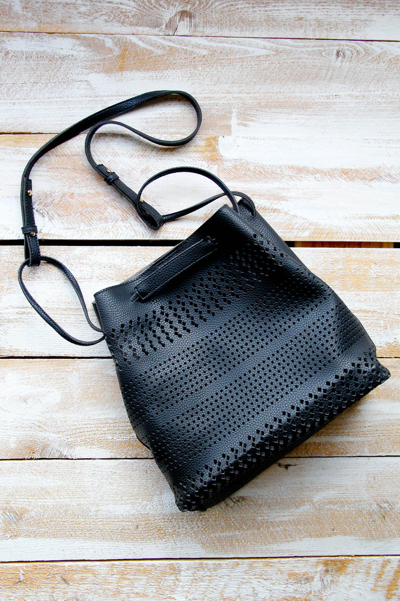 Eyelet Bucket Bag - Black