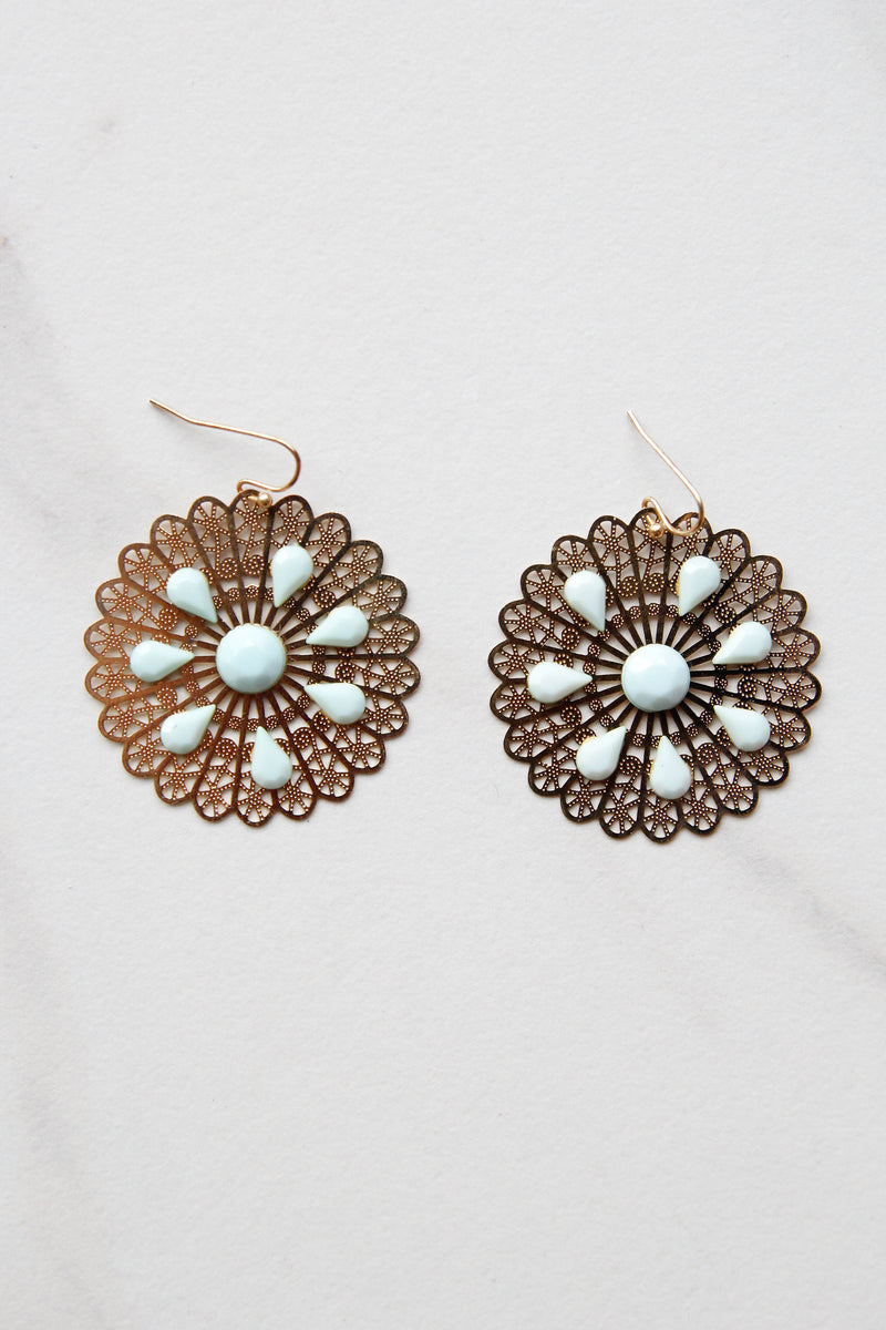 Mint Round About Swirly Earrings