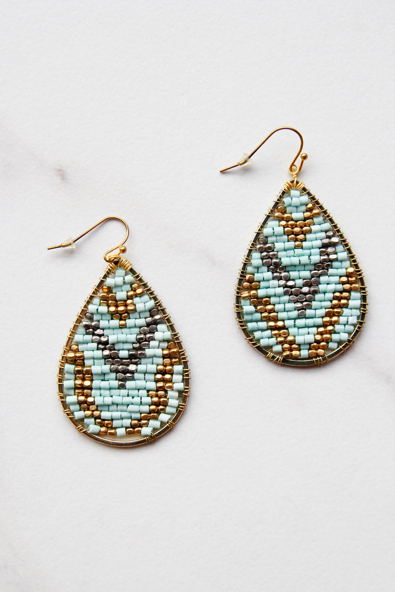 Big Blue Beaded Earrings