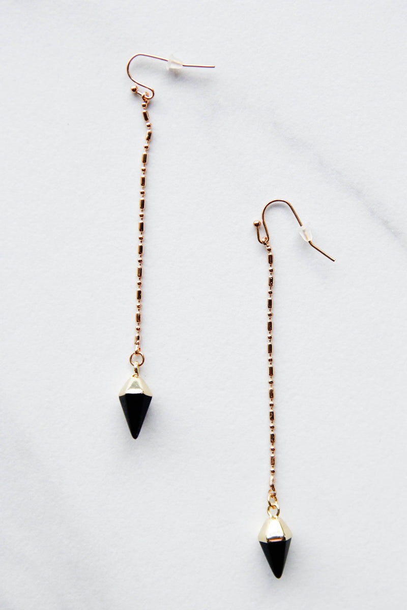 Straight Dangle Black Earrings