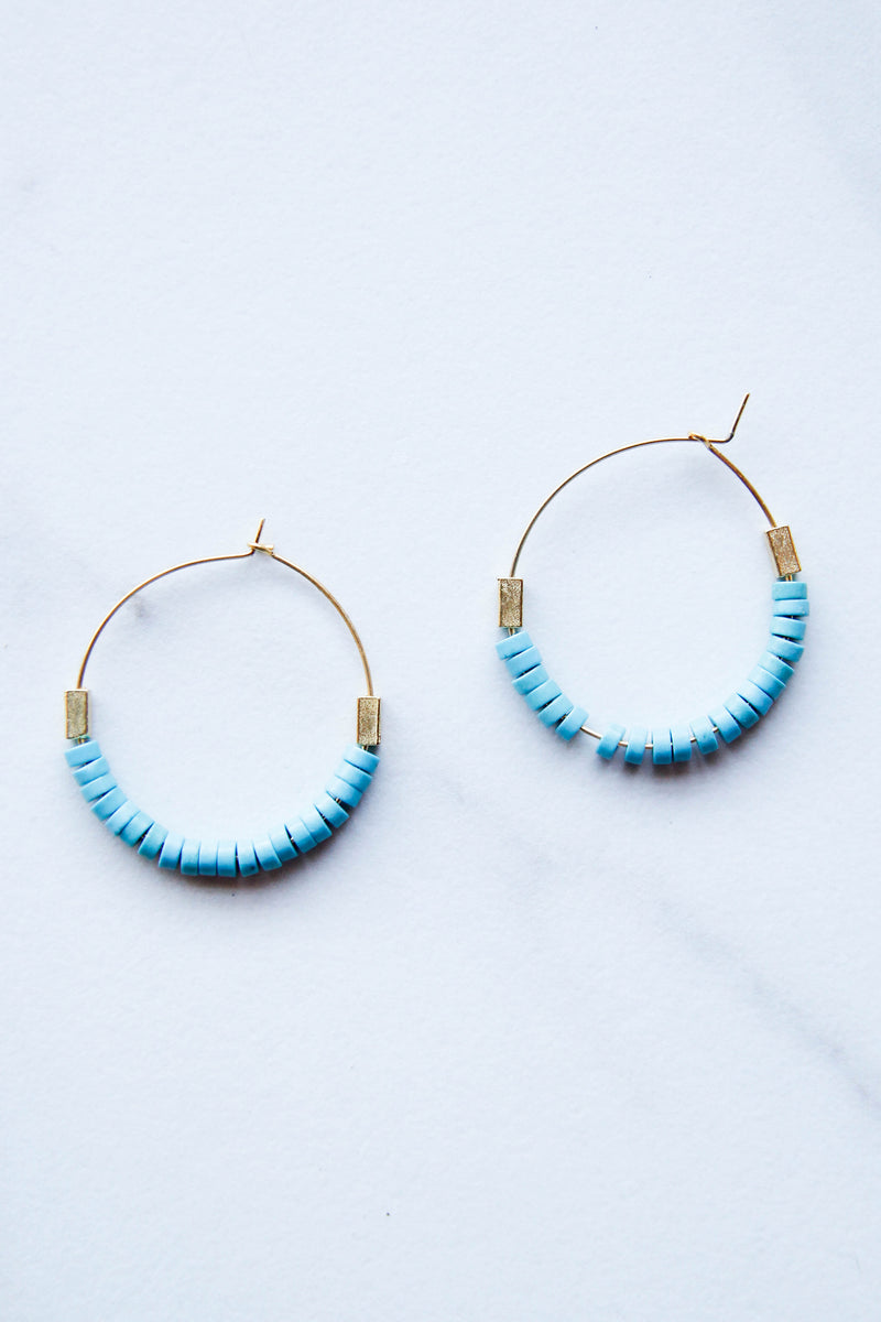 Blue Stacked Beads Hoops
