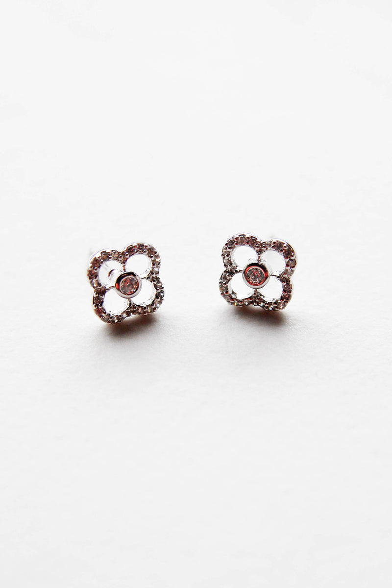 Crystal Clover Studs - Silver