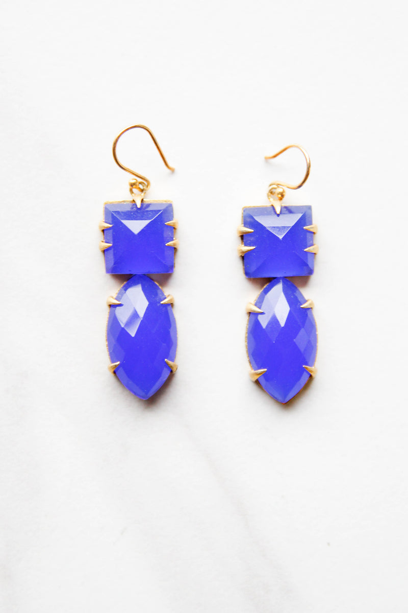 Blue Bejeweled Earrings