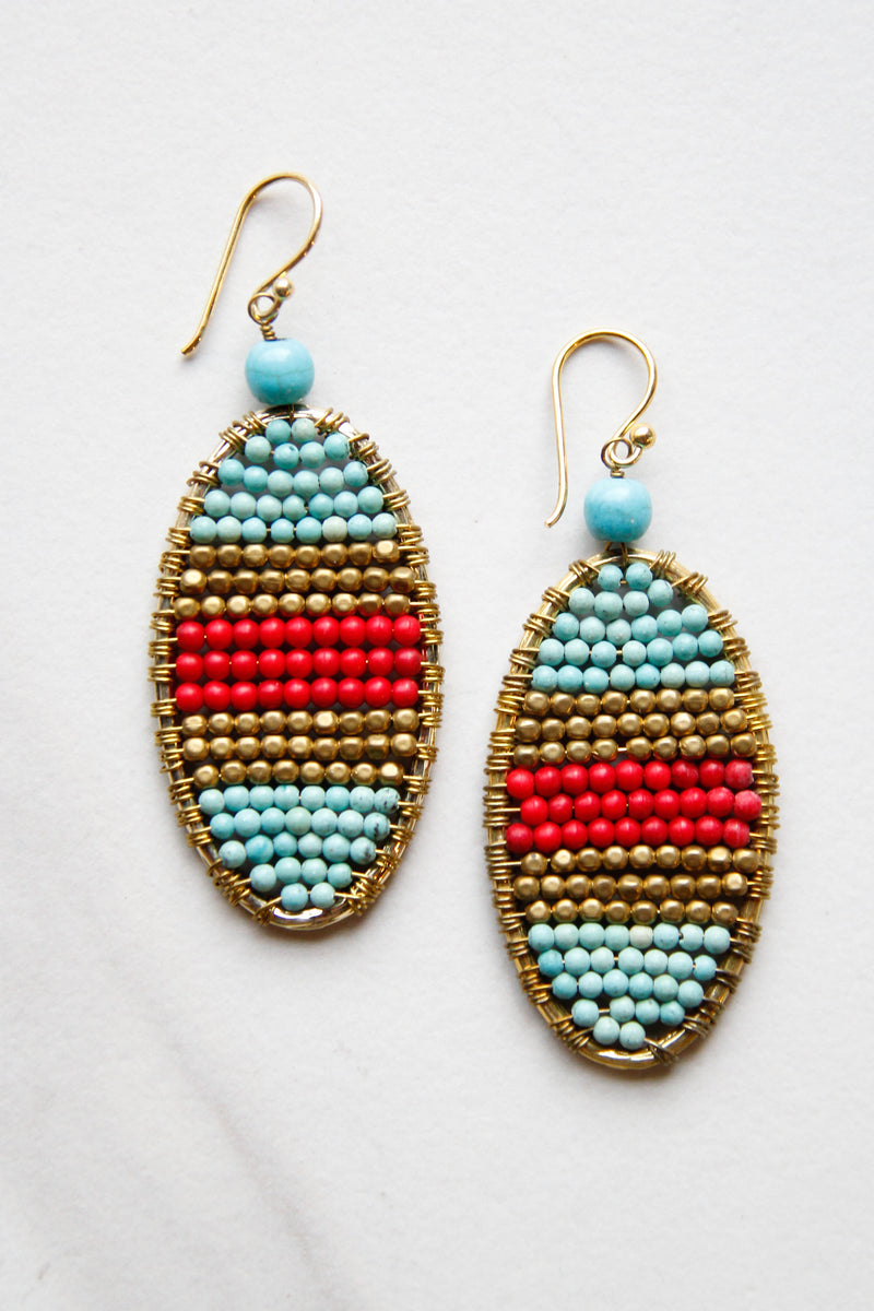 Red & Blue Layered Earrings